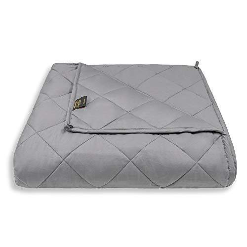 YOLIPULI-Weighted-Blanket-15 lbs-for-Adult, 48 x 72 Inches Heavy Blanket, 100% Organic Cotton with Cooling Glass Beads