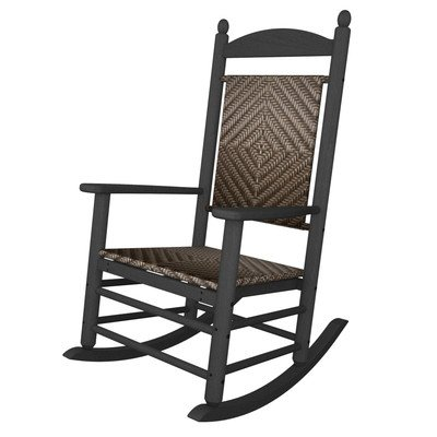 (Rocker Jefferson Woven Chair Seat/Back Finish: Cahaba, Frame Finish: Slate Grey)