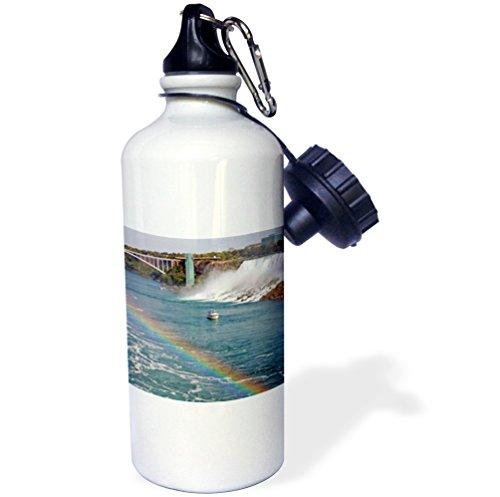 "3dRose wb_74013_1 ""Ontario, Niagara Falls. Lady's maid of the Mist boat, rainbow-CN08 LSE0000 Lynn Seldon"" Sports Water Bottle, 21 oz, White"
