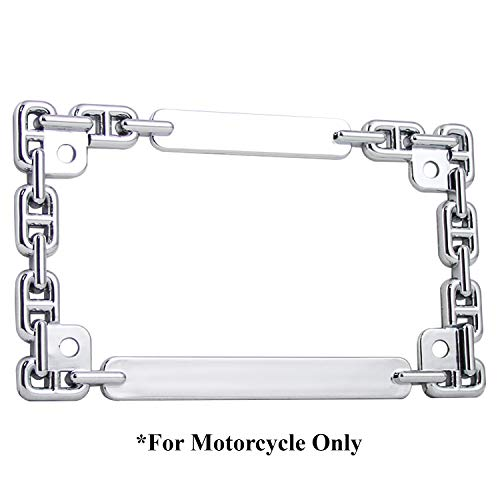 TC Sportline LPF252-C 3D Chain Style Zinc Metal Chrome Finished Motorcycle License Plate Frame
