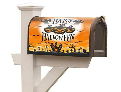 ropto Magnetic Mailbox Cover Embellish Flexible Original Artwork Mailbox Vertical Sign Happy Halloween Jack Lanterns Fits Standard Size -
