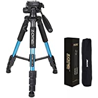 ZOMEI Z666BLUE Portable Pro Tripod Compact Lightweight Camera Stand With Quick Release Plate Pan Head For Digital SLR Canon, EOS, Nikon, Sony, Panasonic, Samsung, Blue