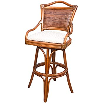 Amazon Com Indoor Swivel Rattan Amp Wicker 30 Quot Bar Stool