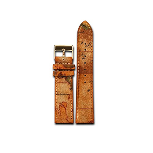 Brown 20mm Genuine Leather Wristwatch Watch Band Classic patterned canvas leather Strap (brown/gold)