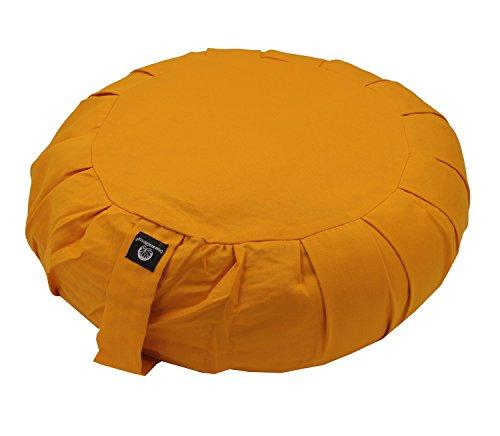 DharmaObjects Zafu Yoga Meditation Organic Buckwheat Fill Cotton Cushion (Yellow, Round Buckwheat Zafu)