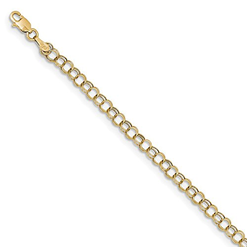 10k Yellow Gold Hollow Double Link Charm Bracelet 8inch by Diamond2Deal