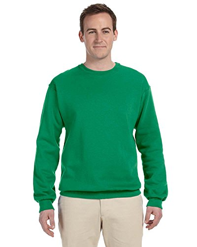 (Jerzees Men's Ribbed Collar With Spandex Sweatshirt, XX Large, Kelly)