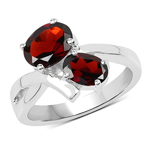 1.89 Carats Genuine Garnet Oval Ring Solid .925 Sterling Silver With Rhodium Plating