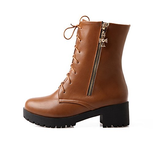 Allhqfashion Women's Low-Top Zipper Soft Material Kitten-Heels Round Closed Toe Boots Brown ZtOOjiHc