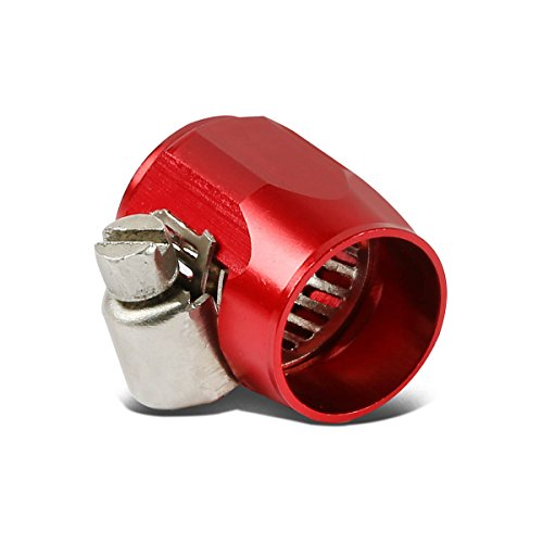 Hose Clamp Cover - 6AN AN-6 Push on Hose End Cover Clamp Adapter Aluminum Anodize Fitting (Red)