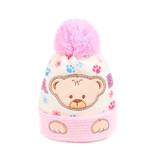 Knitted Beanie Hat Pattern (Iridescentlife Bear Baby Hat Soft Knitted Newborn Beanie Pattern Pompon (Pink))