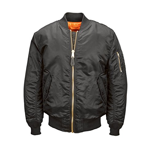 Alpha Industries Men's MA-1 Blood Chit Flight Bomber Jacket, Black, 4X-Large by Alpha Industries