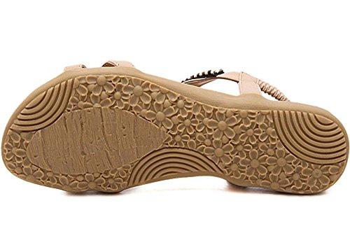 Womens Thong Flats Flip Beige5 Ladies Summer Flops Post Sandals Casual KUFV Shoes Toe ZpFqx