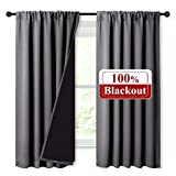 NICETOWN 100% Blackout Curtains with Black Liners, Soft Home Decor Thermal Insulated Rod Pocket 2-Layer Lined Drapes, Energy Efficiency Window Draperies for Bedroom (Grey, 2 Panels, 52' W by 63' L)