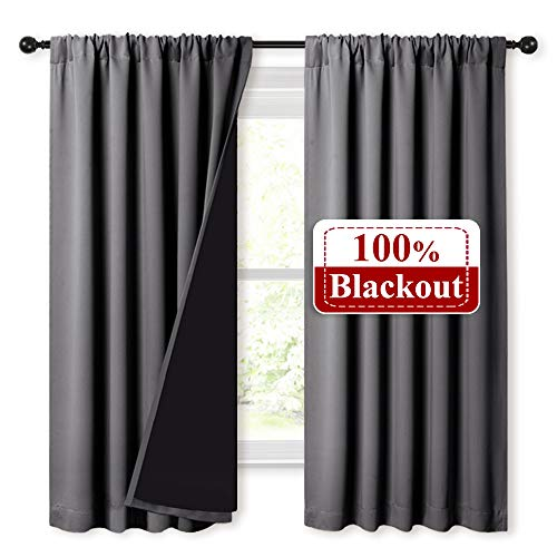 - NICETOWN 100% Blackout Curtains with Black Liners, Soft Home Decor Thermal Insulated Rod Pocket 2-Layer Lined Drapes, Energy Efficiency Window Draperies for Bedroom (Grey, 2 Panels, 52