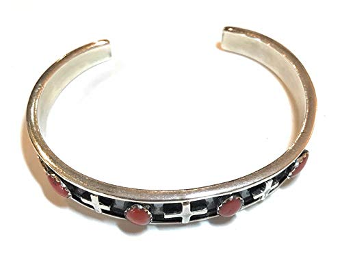 - Nizhoni Traders LLC Navajo Coral Sterling Silver Cuff Bracelet Signed and Stamped