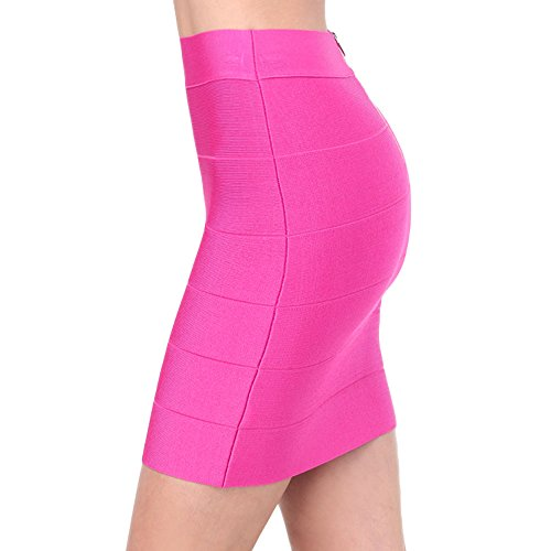 HLBandage Women's Ribbed Panel Stretch Mini Bandage Skirt Rosa