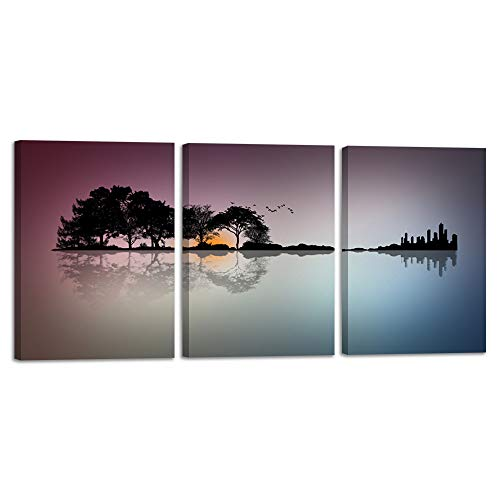 Abstract Guitar Canvas Wall Art Music Prints Home Decor Tree Wall Decals for Living Room Bedroom Pictures 3 Panel Posters Guitar Painting Artwork Framed Ready to Hang (12