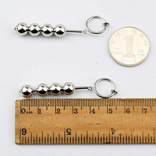 ANMEIKAI Stainless Steel Beaded Silver Metal Earring Minimalist Jewelry Stud Doulbe Circles Earrings