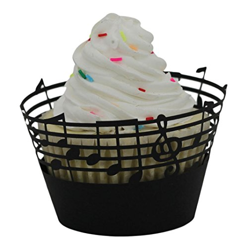 (WensLTD 25pc Note Pattern Lace Laser Cut Cupcake Wrapper Liner Baking Cup Muffin (Black))