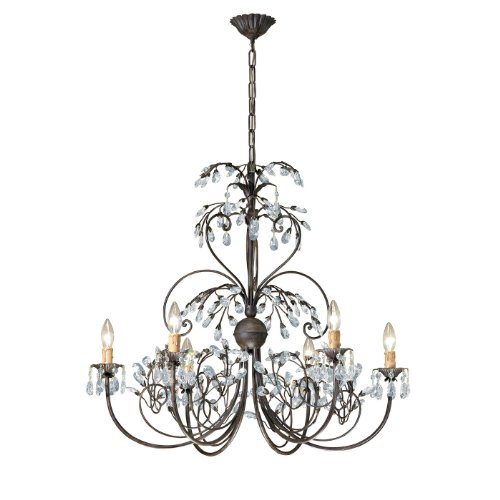 4926-DR Victoria 6LT Chandelier, Dark Rust Finish with Clear Swarovski Spectra Crystal