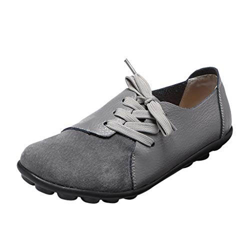 Goddessvan Women's Leather Soft Loafers Mocassins Casual Lace-up Flat Boat Shoes Sneakers Gray