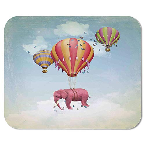 Elephants Decor Ordinary Mouse Pad,Pink Elephant in The Sky with Balloons Illustration Daydream Fairytale Travel Decorative for Computers Laptop Office & Home,7.87''Wx9.45''Lx0.08''H - Daydream Lilac