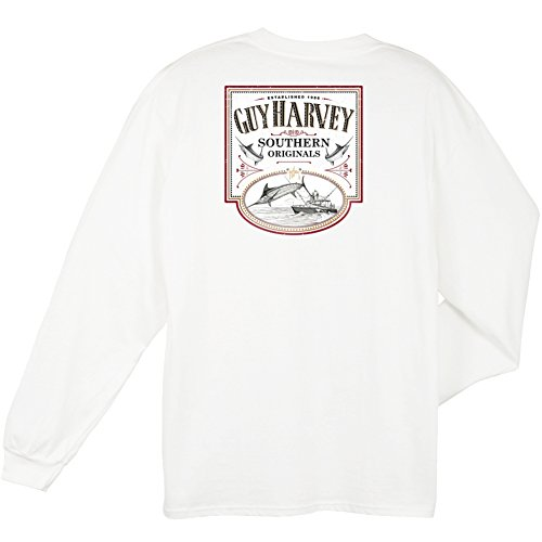 Guy Harvey Mens Sweet Caramel L/S, Color: White, Size: S (Mth21138-Wht-S)