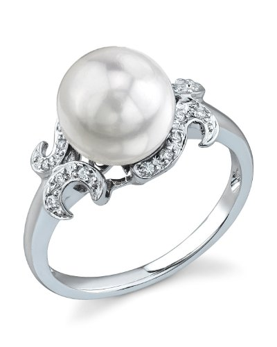 THE PEARL SOURCE 14K Gold 8.5-9mm Round Genuine White Akoya Cultured Pearl & Diamond Crown Ring for Women