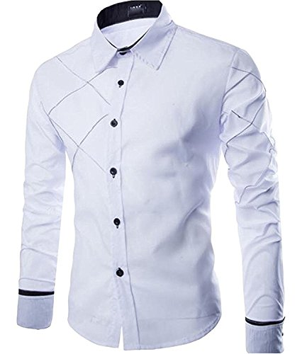 ndy Men's Lapel Button Collision Color Formal Slim Comfort Long Sleeve WhiteUS X-Small=China Medium (Andrew Chino Pant)