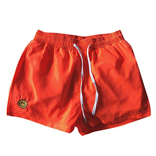 GREFER Plus Size Straight Shorts Soft Elastic Waist Shorts - Athletic Big and Tall Lightweight Work Pants for Men Orange