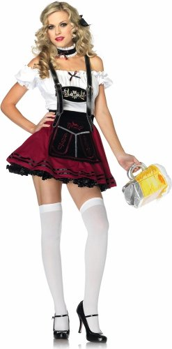 Women's 3 Piece Beer Stein Beauty Apron Dress With Suspender Bib And Choker, Multi, Large