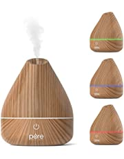 PureSpa Natural Aromatherapy Oil Diffuser – Ultrasonic Mister with 200 ml Water Tank, Wood-Grain Accents and Soft Color-Changing Lights