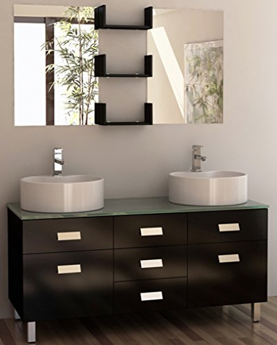 [Design Element Wellington Double Sink Vanity Set, 55-Inch] (Drawers Double Sink Vanity)
