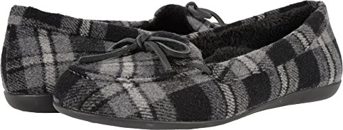 Vionic Womens Ida Slipper Grey Plaid Size 5 (Footwear Canvas Plaid)