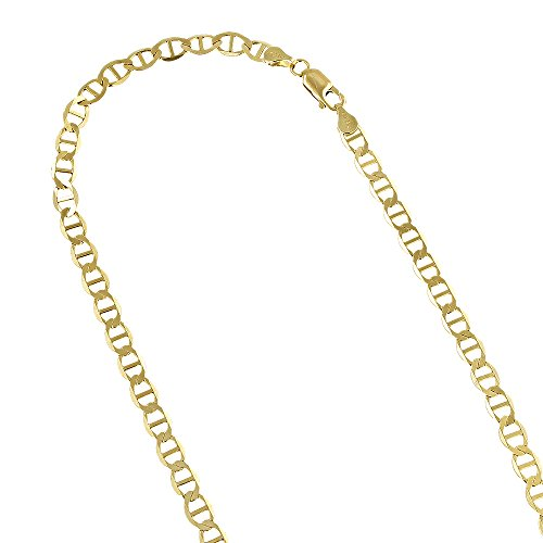 IcedTime 10K Yellow Gold Solid Flat Mariner Chain 3mm Wide Necklace with Lobster Claw Clasp 20 inches long