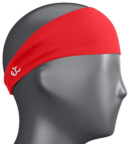 Ewedoos Headbands for Men, Mens Sweatband & Sports Headband for Running, Crossfit, Cycling, Yoga, Basketball - Performance Stretch & Moisture Wicking (Red)