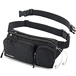 Fanny Pack For Women & Men Cute Waist Bag – Hiking Travel Camp Running – Headphone Hole, Money Belt with 6 Pockets, Strap Extension – Easy Carry Any Phone, Passport, Wallet – Water Resistant Holder