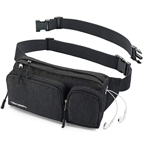 Fanny Packs For Women & Men Waist Bags Black Hiking Travel Camp Running - Headphone Hole, Money Belt with 6 Pockets, Strap Extension - Easy Carry Any Phone, Passport, Wallet - Water Resistant Holder