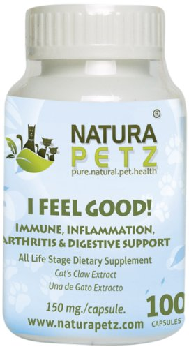 Natura Petz I Feel Good! Immune, Inflammation, Arthritis and Digestive Support for Pets, 100 Capsules Extract, 150mg Per capsule by Natura Petz