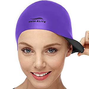 Well-Being-Matters 41dIkKeYy-L._SS300_ 2-in-1 Premium Silicone Swim Cap - Reversible - Wear It On Both Sides - Wrinkle-Free Swimming Cap for Men and Women…