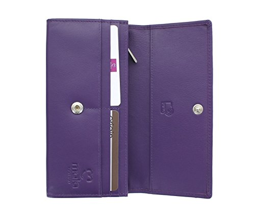 In 3434 Protezione Matinee Rfid 5 Leather Mala Pelle Origine Collection Porpora Con Borsa Rosa wFn6qpI