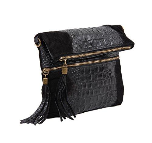 """SLIN GBAG """"MARIA Croco L Clutch/bolso de mano/bolso de cuero auténtico/Selección de Colores, negro (gris) - 4251042503868 negro"""