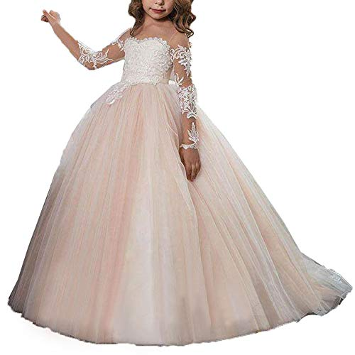 fairy Girl Flower Girl Dress Lace Tulle Junior Bridesmaid Dress for Wedding Ball Gown Ivory and Champagne,6