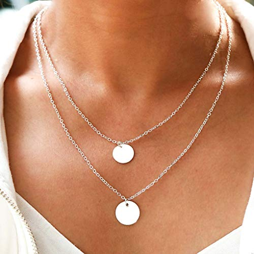 (Yalice Double Layered Sequins Necklace Chain Round Circle Necklaces Beach Jewelry for Women and Girls (Silver))