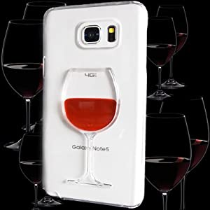 WwwSuppliers Cute 3D Liquid Motion Red Wine Glass Goblet Case for Samsung Galaxy Note 5 N920 Crystal Clear Classy Elegant Fashion Skin Protective Hard Cover + Free Screen Protector