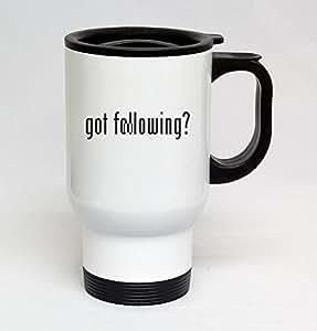 14oz Stainless Steel White Travel Mug - got following?