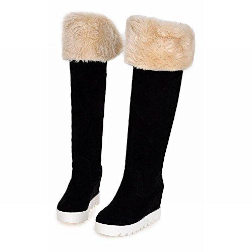 Carolbar Womens Faux Fur Moda Freddo Tempo Doppio-fascino Fascino Invernale Alto Neve Stivali Neri
