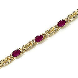 14K Yellow/White Gold 5 1/2 ct. Ruby Bracelet