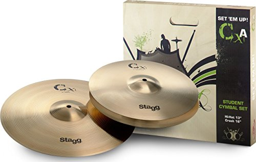 Brass Starter Cymbal - Stagg CXA-SET Brass Starter Cymbal Set with 13-Inch Hi-Hats and 16-Inch Crash Cymbal